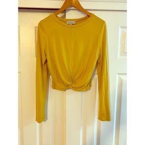 Mustard Yellow Tie Front Long Sleeved Top Size L